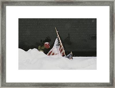 American Flags And A Rose Commemorate Framed Print