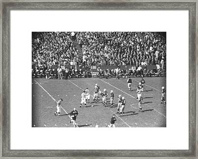 American Football Match, (b&w), Elevated View Framed Print by George Marks