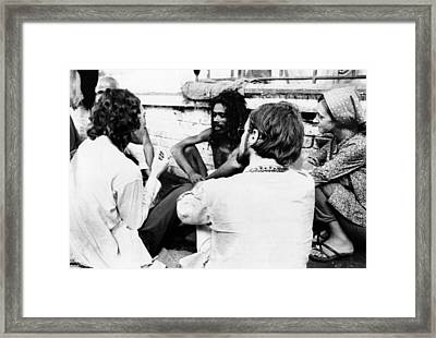 American Hippies In Katmandu, Nepal Framed Print by Everett