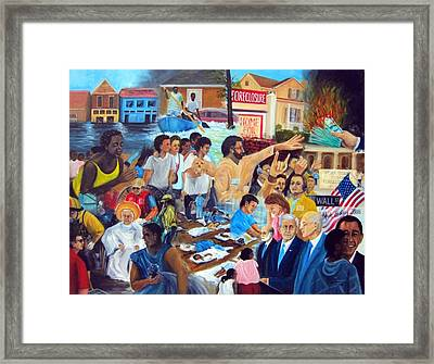 American History Katrina Financial Meltdown Framed Print