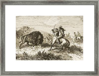 American Indians Buffalo Hunting. From Framed Print by Ken Welsh