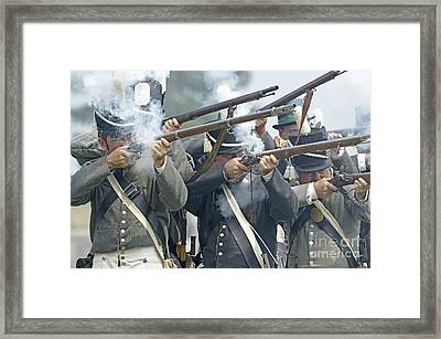 American Infantry Firing Framed Print by JT Lewis