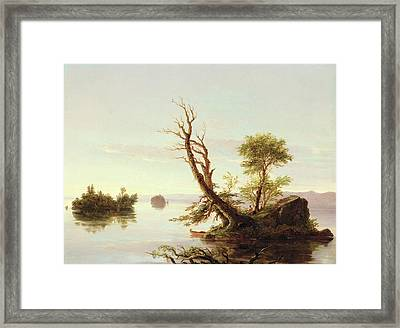 American Lake Scene Framed Print by Thomas Cole