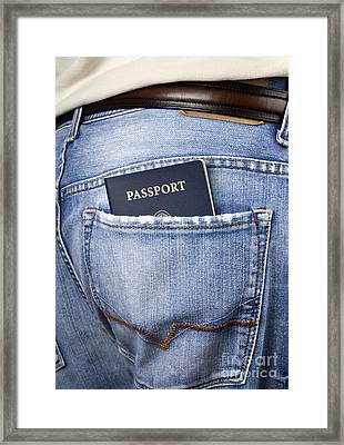 American Passport In Back Pocket Framed Print by Blink Images