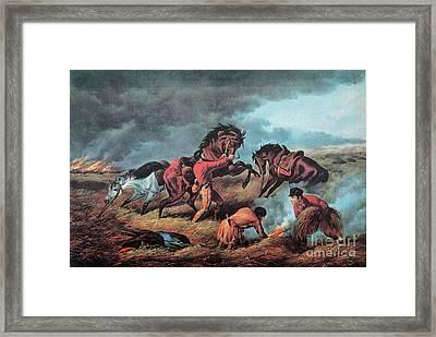 American Prairie Hunters Using Fire Framed Print