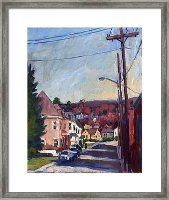 American Street In Autumn Framed Print