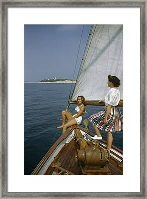 American Women Sail Off Of The Coast Framed Print
