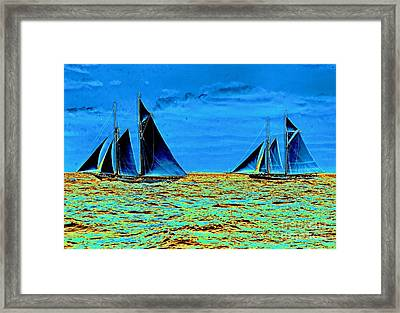 America's Cup Contenders Idler And Hildegarde 1901 Framed Print by Padre Art
