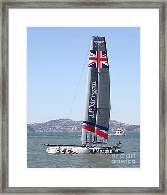America's Cup In San Francisco - Great Britain Ben Ainslie Racing Sailboat - 5d18248 Framed Print by Wingsdomain Art and Photography