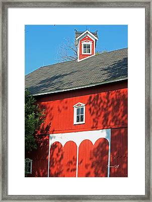 Amish Barn In Shadows Framed Print by Suzanne Gaff