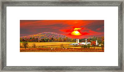 Amish Farm Sundown Framed Print by Randall Branham