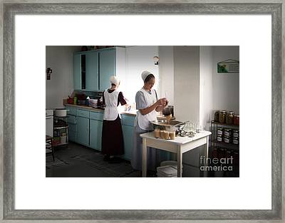 Amish Kitchen Work Framed Print
