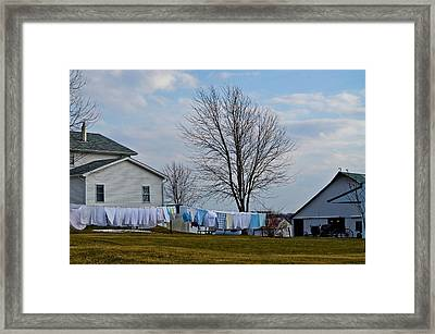Amish Laundry Framed Print by Brenda Becker