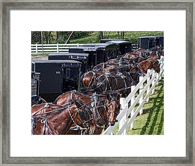 Amish Parking Lot Framed Print by Tom Mc Nemar