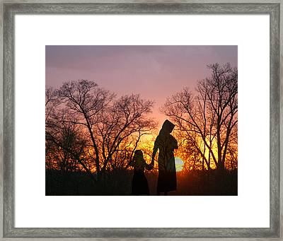 Amish Sisters Framed Print