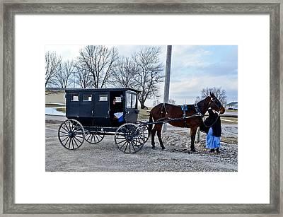 Amish Women Framed Print by Brenda Becker