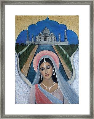 Amishi An Earth Angel Representing A Young Bride On Her Wedding Day Framed Print by The Art With A Heart By Charlotte Phillips