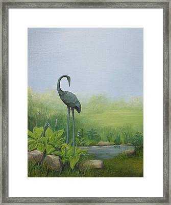 Among The Hostas Framed Print by Mary Rogers