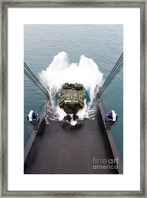 Amphibious Assault Vehicles Disembark Framed Print by Stocktrek Images