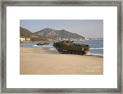 Amphibious Assault Vehicles Push Framed Print by Stocktrek Images