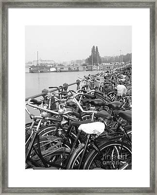 Amsterdam Bikes Framed Print by Erica Ross