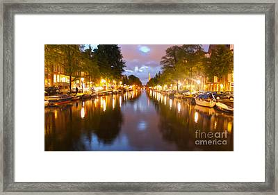 Amsterdam Canal At Night Framed Print by Gregory Dyer