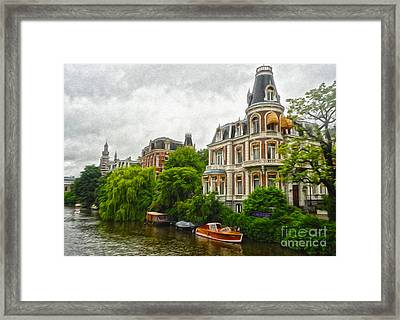 Amsterdam Canal Mansion Framed Print by Gregory Dyer