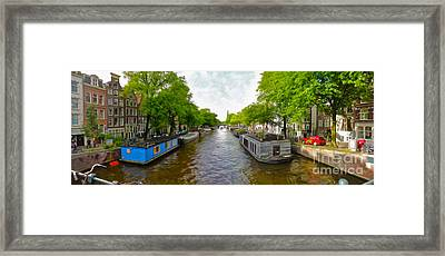 Amsterdam Canal Panorama Framed Print by Gregory Dyer