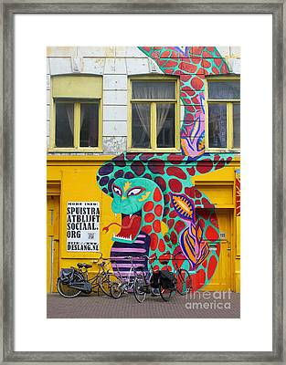 Amsterdam Snake Graffiti Framed Print by Gregory Dyer