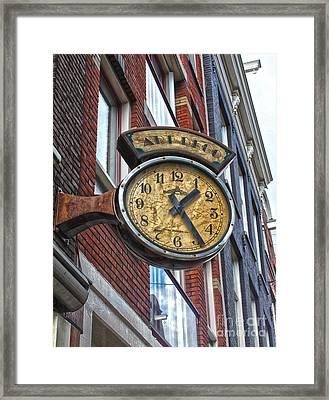 Amsterdam Vintage Deco Clock Sign Framed Print by Gregory Dyer