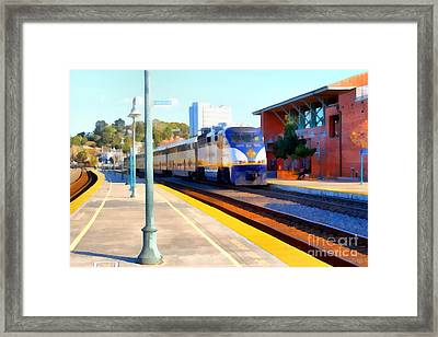 Amtrak Arriving At The Martinez California Train Station . 7d10495 Framed Print by Wingsdomain Art and Photography