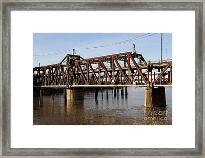 Amtrak California Crossing The Old Sacramento Southern Pacific Train Bridge . 7d11692 Framed Print by Wingsdomain Art and Photography