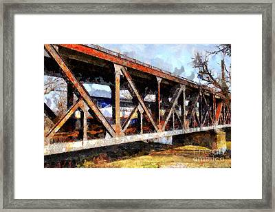 Amtrak California Crossing The Old Sacramento Southern Pacific Train Bridge . Painterly 7d11410 Framed Print by Wingsdomain Art and Photography