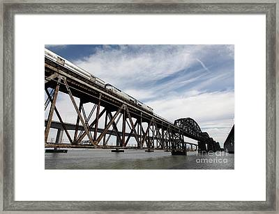 Amtrak Train Riding Atop The Benicia-martinez Train Bridge In California - 5d18723 Framed Print by Wingsdomain Art and Photography