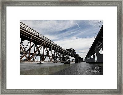 Amtrak Train Riding Atop The Benicia-martinez Train Bridge In California - 5d18727 Framed Print by Wingsdomain Art and Photography