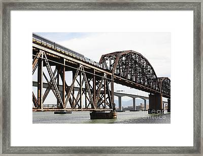 Amtrak Train Riding Atop The Benicia-martinez Train Bridge In California - 5d18768 Framed Print by Wingsdomain Art and Photography