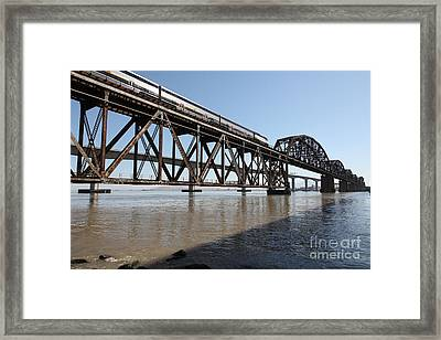 Amtrak Train Riding Atop The Benicia-martinez Train Bridge In California - 5d18829 Framed Print by Wingsdomain Art and Photography