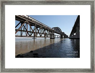 Amtrak Train Riding Atop The Benicia-martinez Train Bridge In California - 5d18830 Framed Print by Wingsdomain Art and Photography
