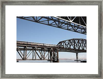 Amtrak Train Riding Atop The Benicia-martinez Train Bridge In California - 5d18835 Framed Print by Wingsdomain Art and Photography