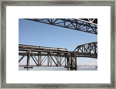 Amtrak Train Riding Atop The Benicia-martinez Train Bridge In California - 5d18837 Framed Print by Wingsdomain Art and Photography