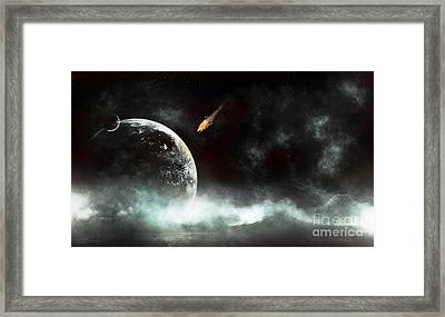 An Abandoned Planet About To Get Hit Framed Print by Tomasz Dabrowski