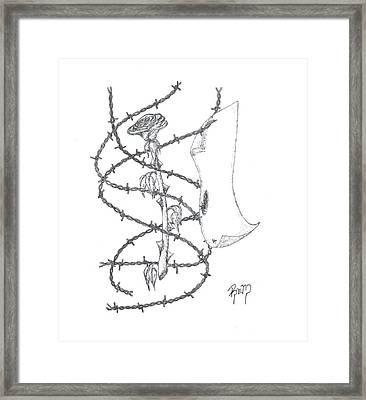An Abstract Rose - Sketch Framed Print by Robert Meszaros