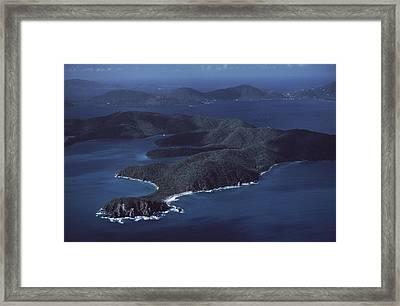 An Aerial Of Saint John Island Framed Print by Ira Block