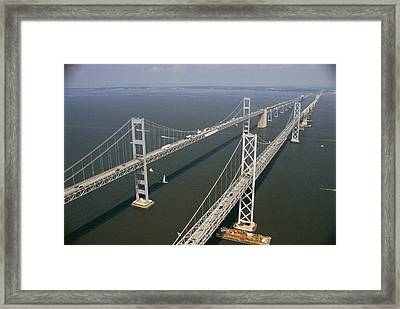 An Aerial View Of The Chesapeake Bay Framed Print