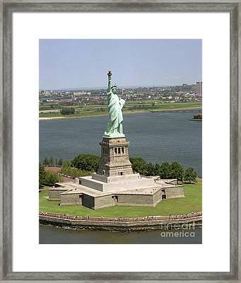 An Aerial View Of The Statue Of Liberty Framed Print