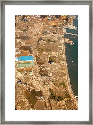 An Aerial View Of Tsunami Damage North Framed Print
