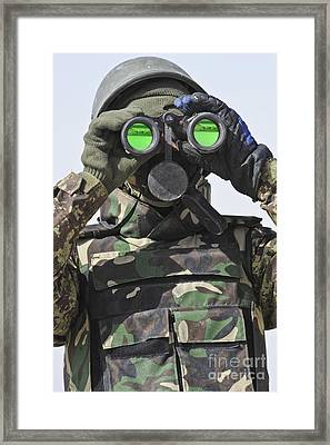 An Afghan National Army Soldier Scans Framed Print