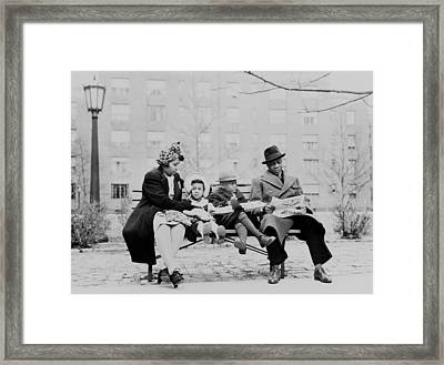 An African American Family On A Park Framed Print by Everett