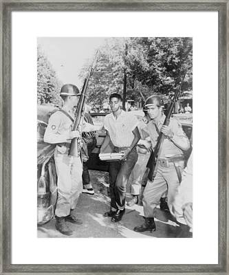 An African American Student Is Escorted Framed Print by Everett