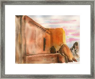 Framed Print featuring the painting An Age Old Adobe by Sharon Mick